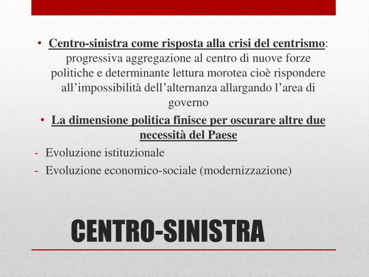 Centro-sinistra come risposta alla crisi del centrismo