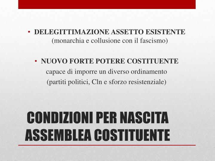 Condizioni per nascita assemblea costituente