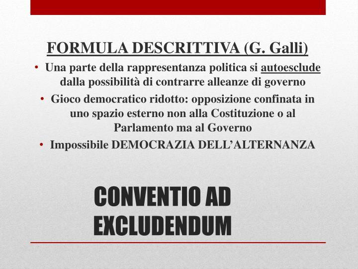 FORMULA DESCRITTIVA (G. Galli)