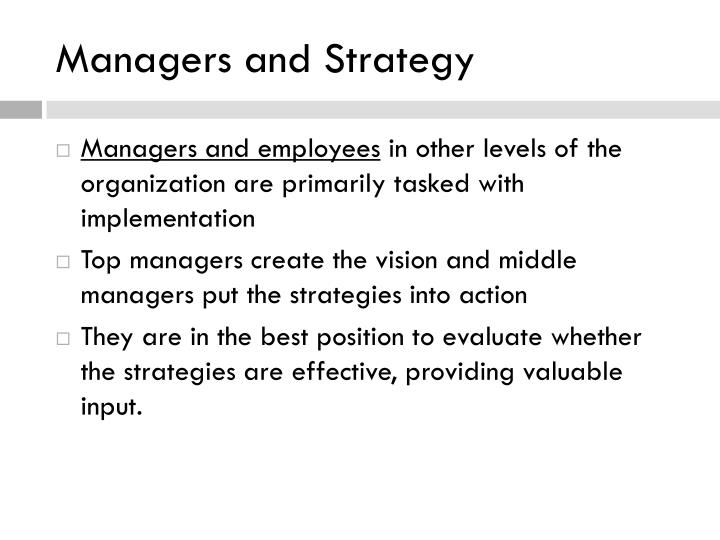 Managers and Strategy