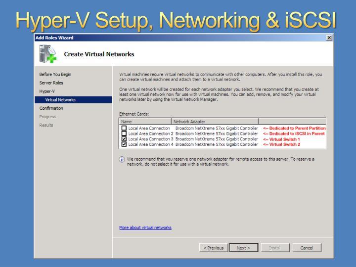 Hyper-V Setup, Networking & iSCSI
