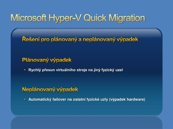 Microsoft Hyper-V Quick Migration