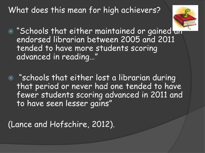 What does this mean for high achievers?