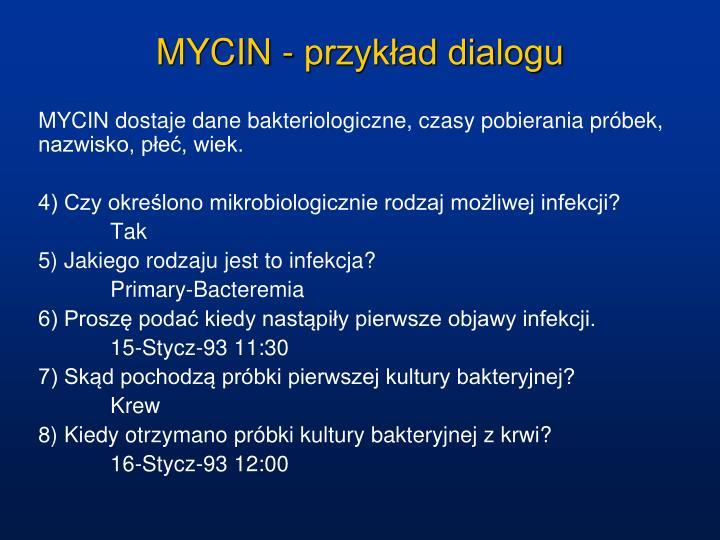 MYCIN - przykład dialogu