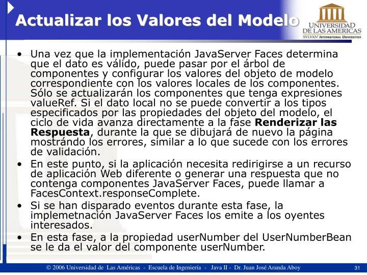 Actualizar los Valores del Modelo