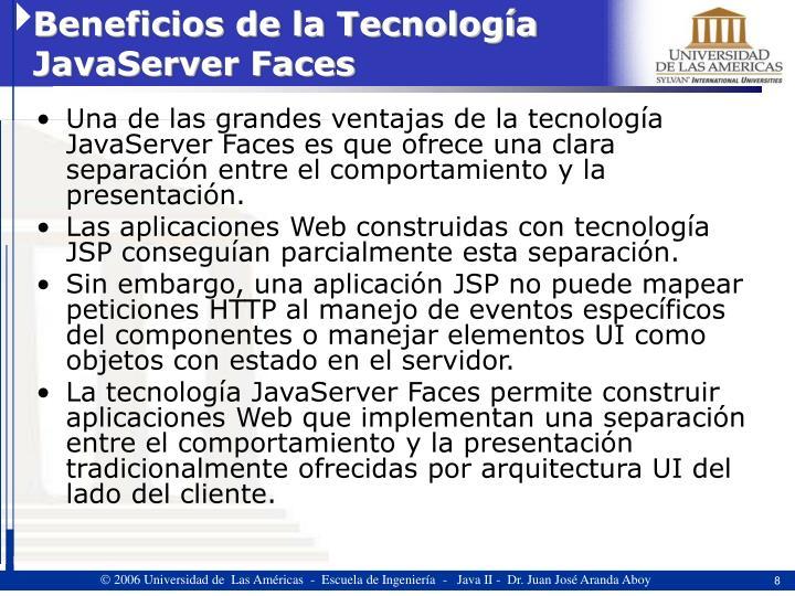 Beneficios de la Tecnología JavaServer Faces