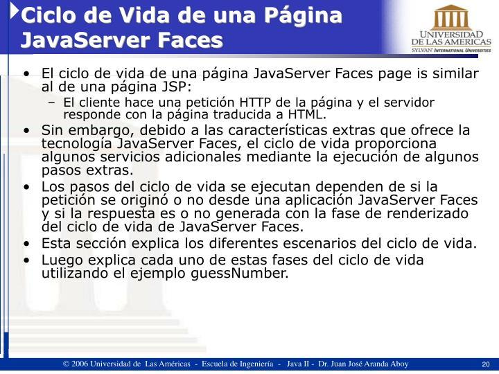 Ciclo de Vida de una Página JavaServer Faces