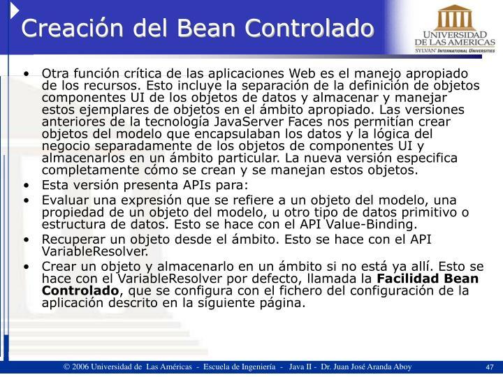 Creación del Bean Controlado