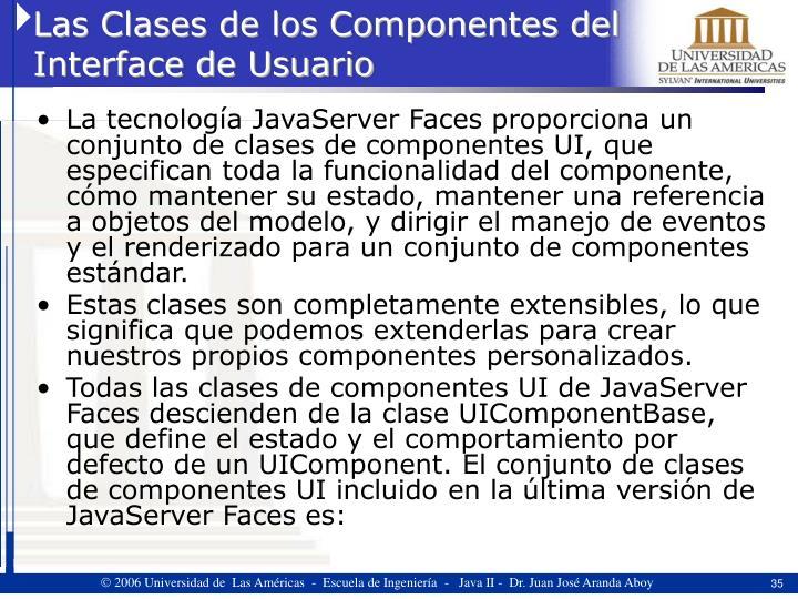 Las Clases de los Componentes del Interface de Usuario