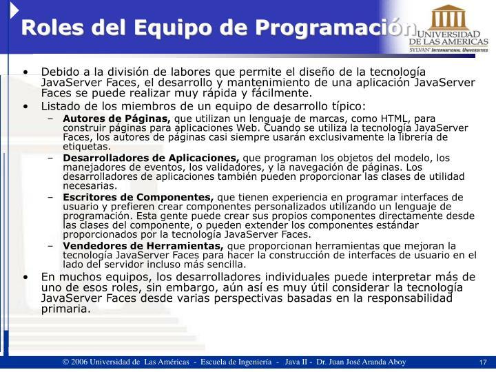 Roles del Equipo de Programación