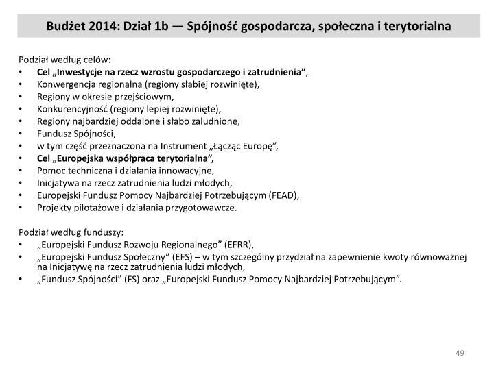 Budżet 2014: Dział 1b — Spójność gospodarcza, społeczna i terytorialna