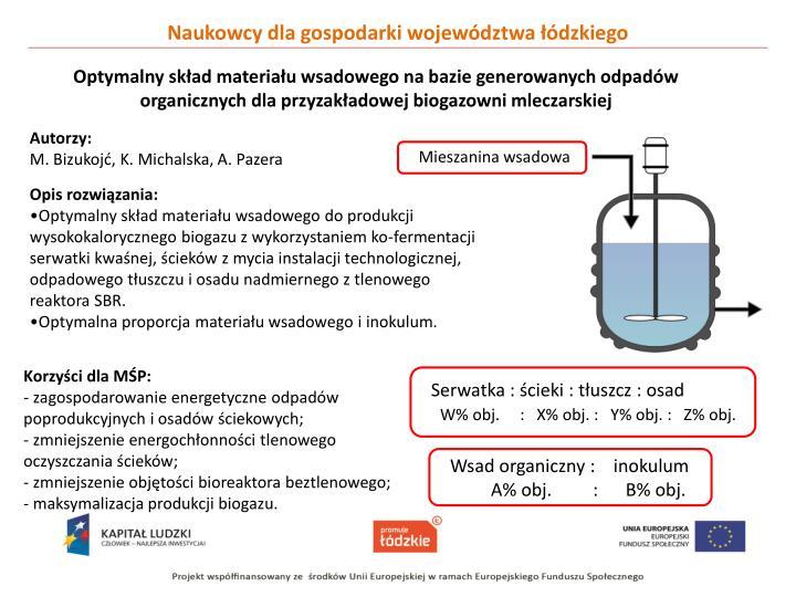 Optymalny skład materiału wsadowego na bazie generowanych odpadów organicznych dla przyzakładowej biogazowni mleczarskiej