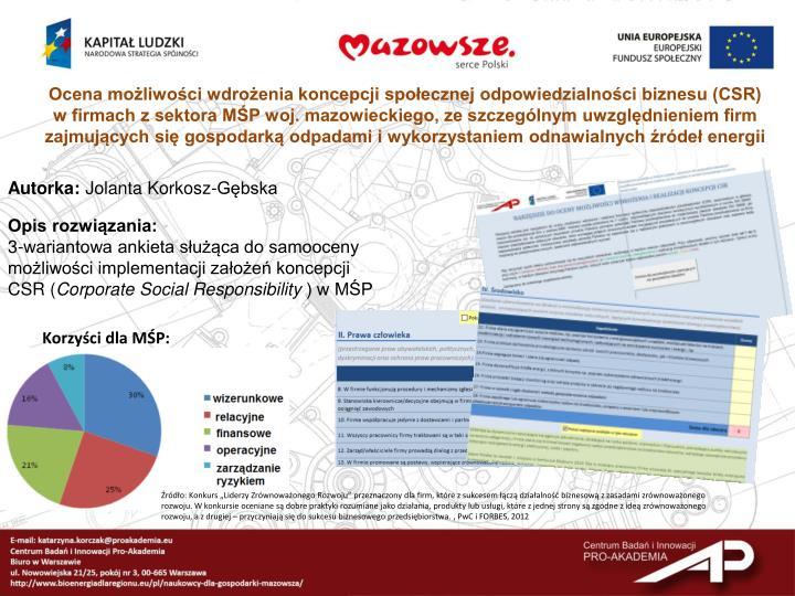Ocena możliwości wdrożenia koncepcji społecznej odpowiedzialności biznesu (CSR)