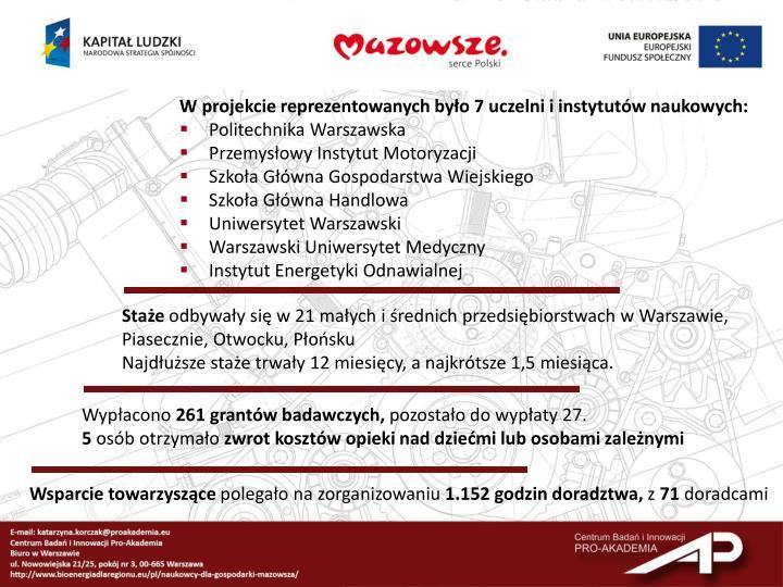 W projekcie reprezentowanych było 7 uczelni i instytutów naukowych: