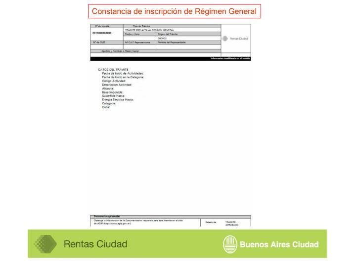 Constancia de inscripción de Régimen General