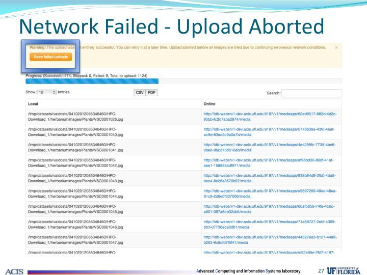 Network Failed - Upload Aborted