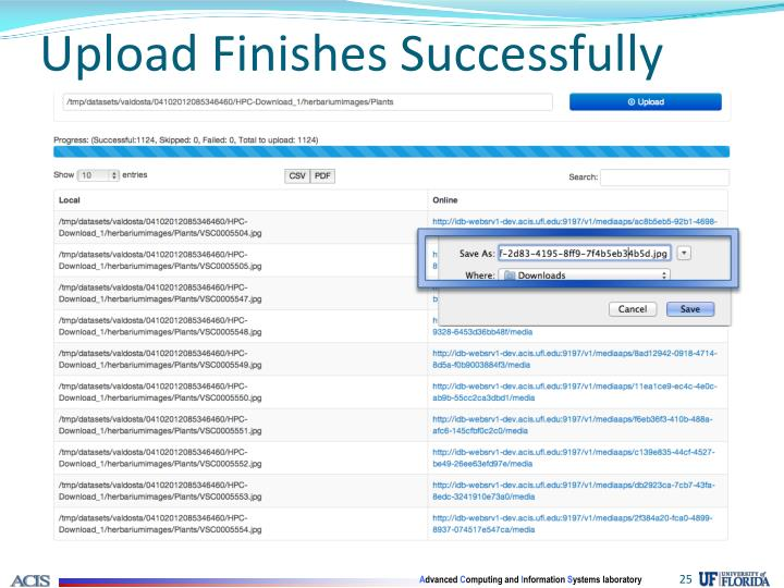 Upload Finishes Successfully
