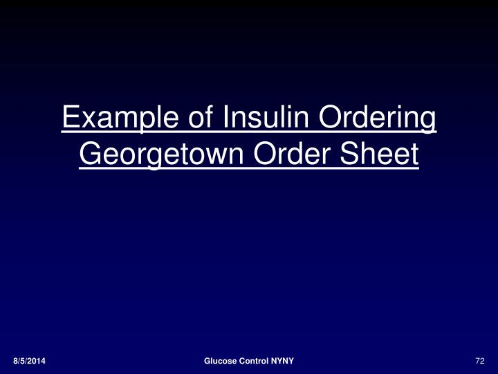 Example of Insulin Ordering
