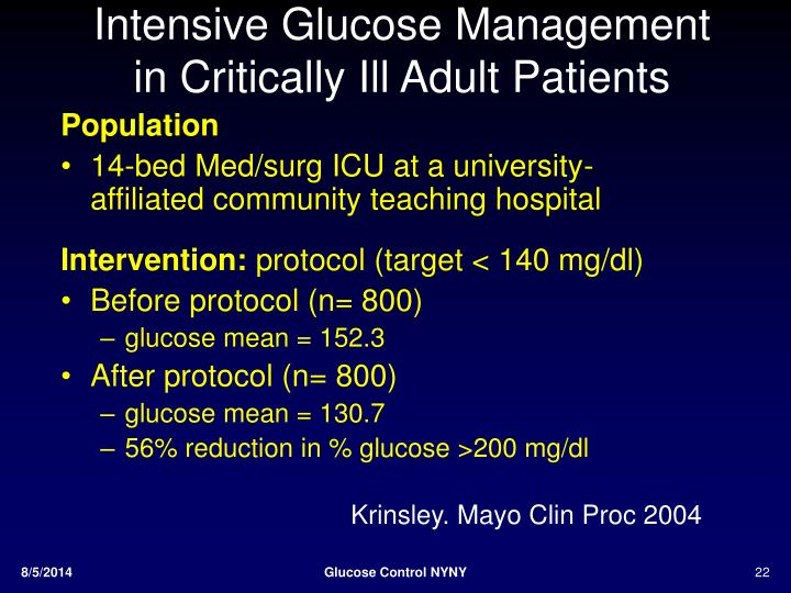 Intensive Glucose Management in Critically Ill Adult Patients