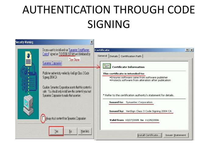 AUTHENTICATION THROUGH CODE SIGNING