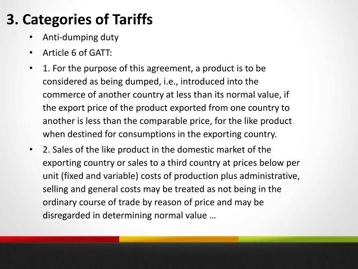 3. Categories of Tariffs