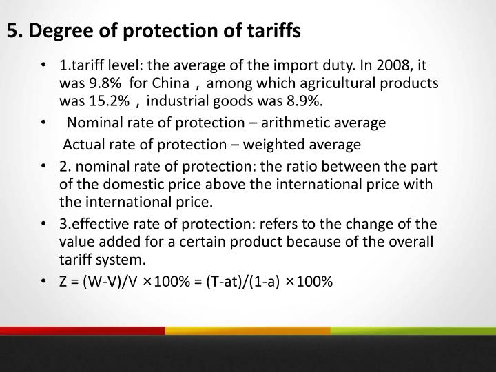 5. Degree of protection of tariffs