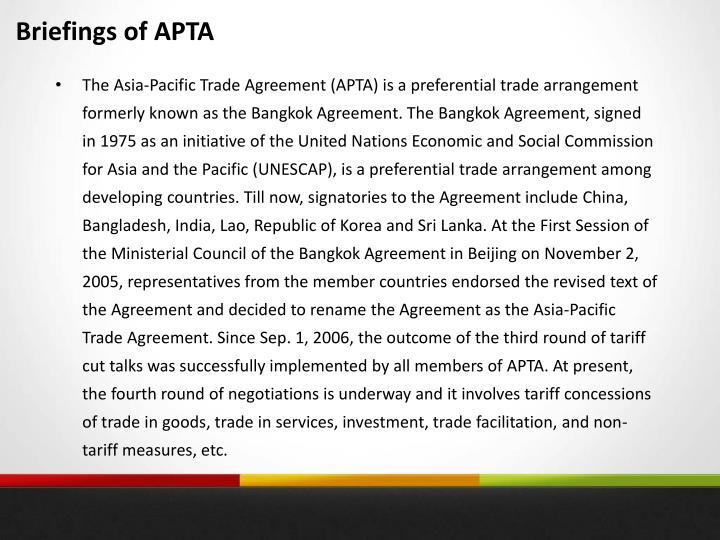 Briefings of APTA