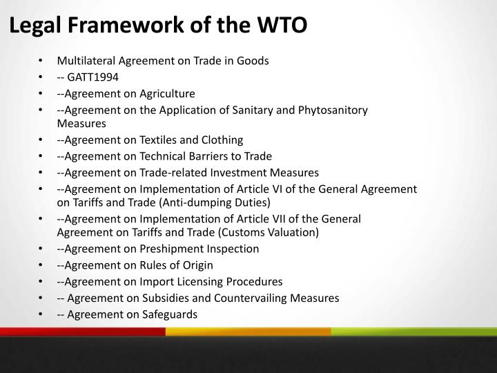 Legal Framework of the WTO