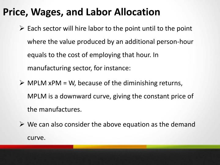 Price, Wages, and Labor Allocation