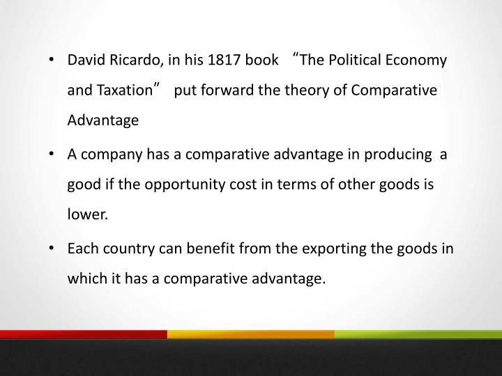 David Ricardo, in his 1817 book