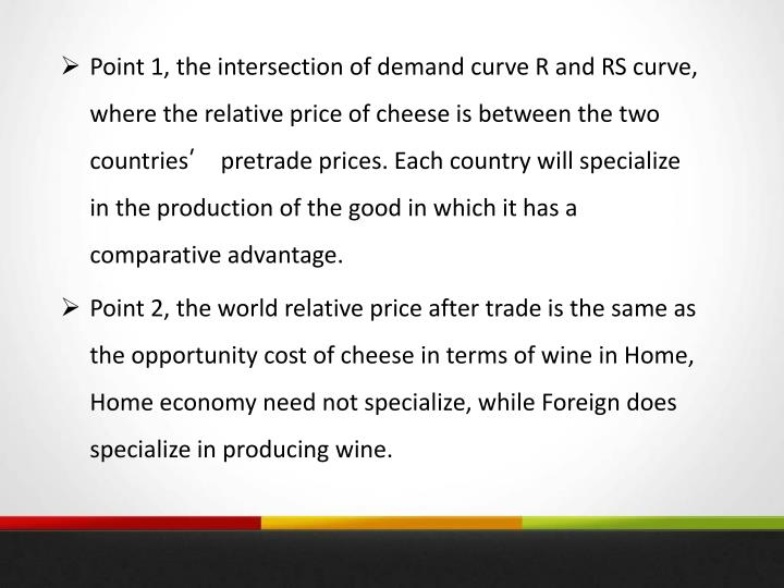 Point 1, the intersection of demand curve R and RS curve, where the relative price of cheese is between the two countries