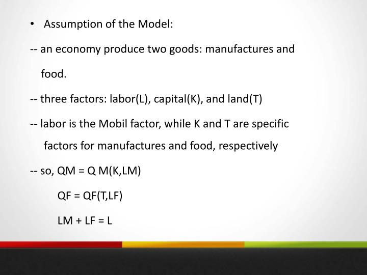 Assumption of the Model: