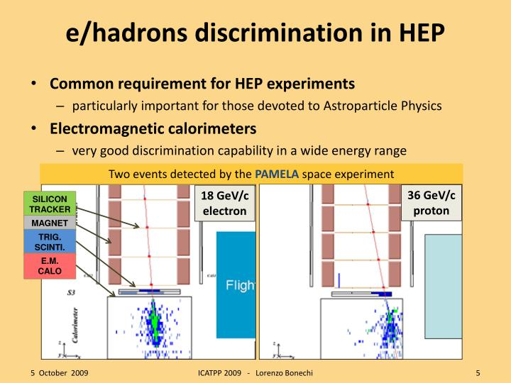 e/hadrons discrimination in HEP
