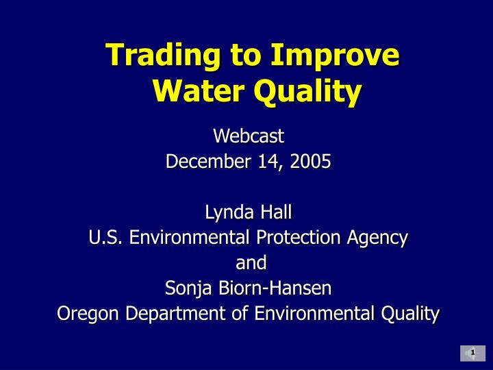 trading to improve water quality n.