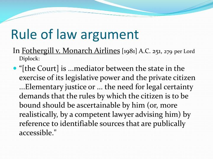 Rule of law argument