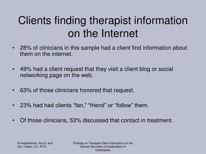 Clients finding therapist information on the Internet