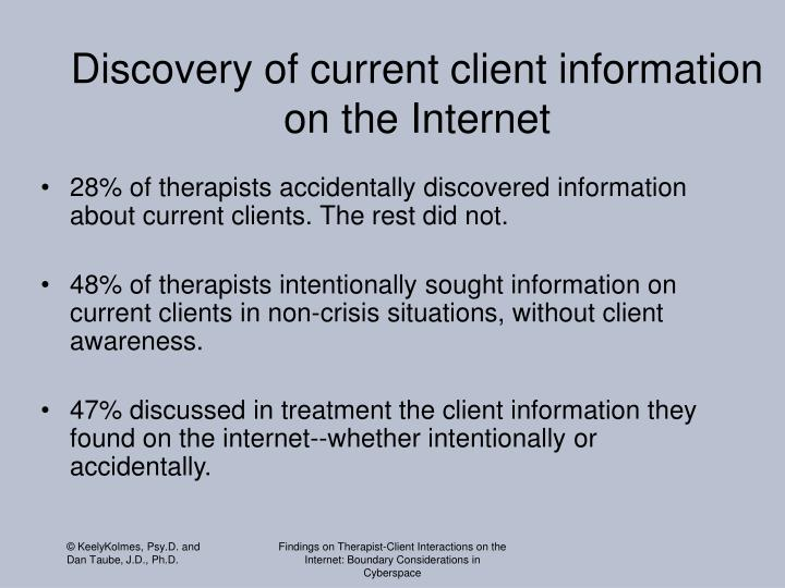 Discovery of current client information on the Internet