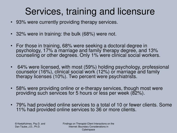 Services, training and licensure