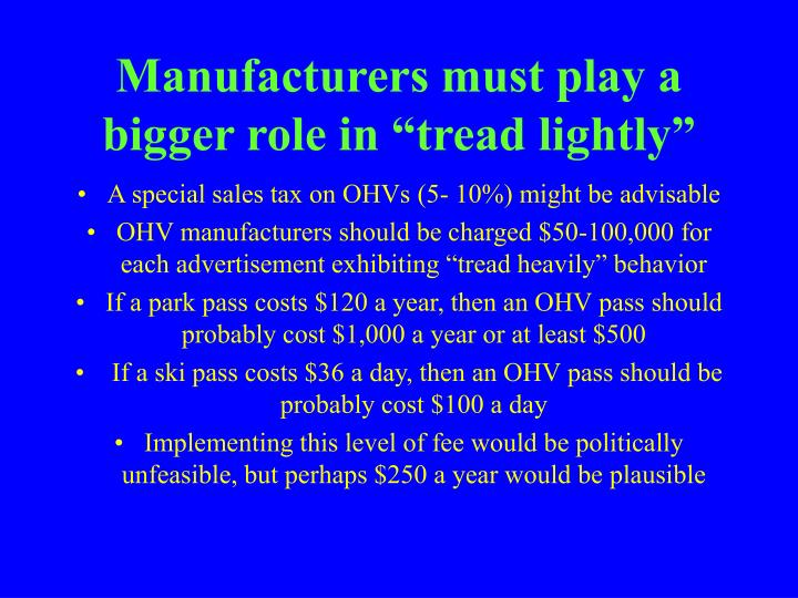 "Manufacturers must play a bigger role in ""tread lightly"""