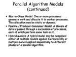 parallel algorithm models continued