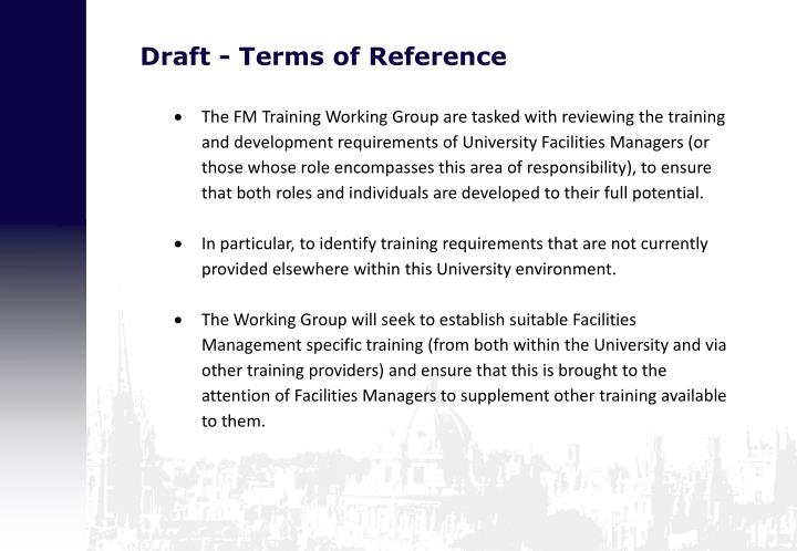 Draft terms of reference