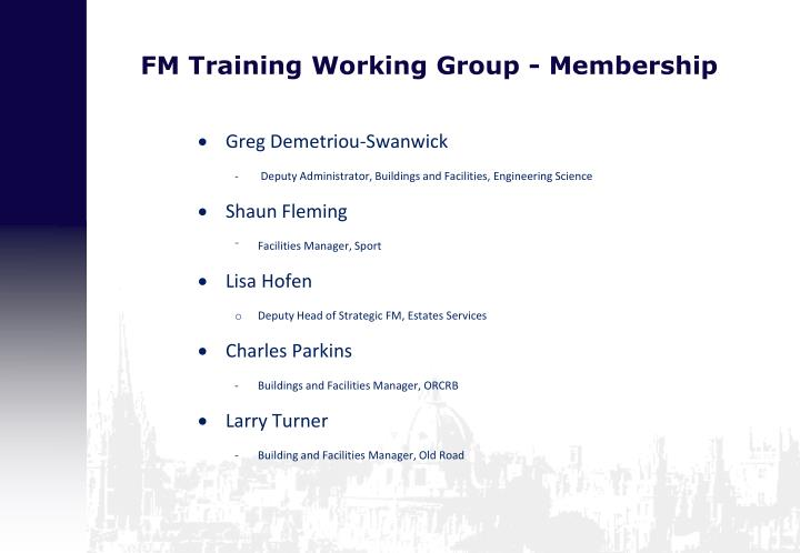 Fm training working group membership