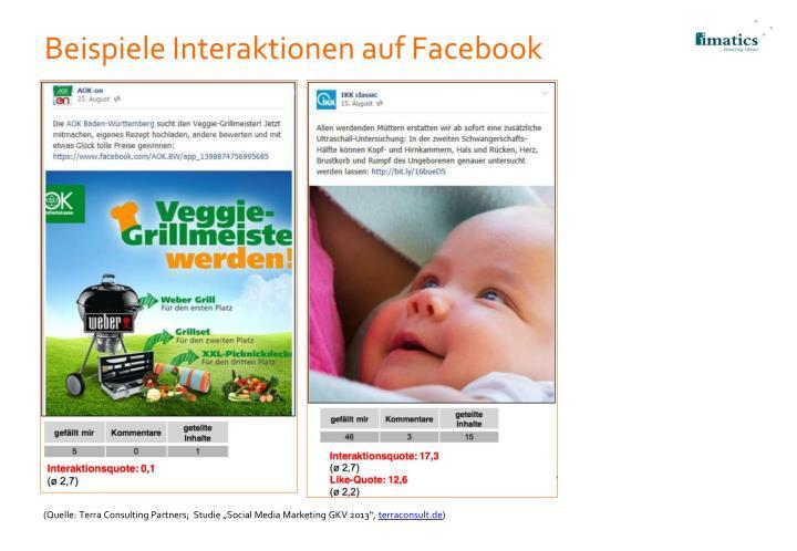 Beispiele Interaktionen auf Facebook