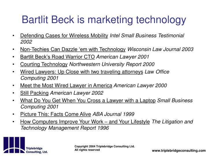 Bartlit Beck is marketing technology