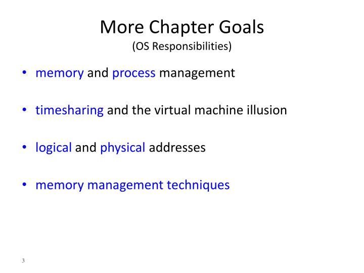 More chapter goals os responsibilities