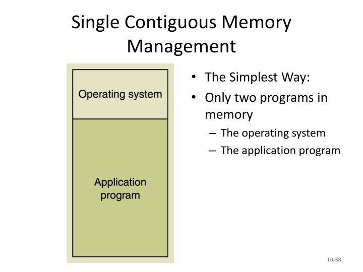 Single Contiguous Memory Management