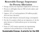 renewable energy importance for poverty alleviation