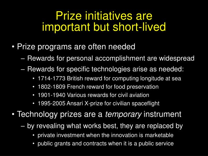 Prize initiatives are