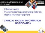 analysis dissemination continued
