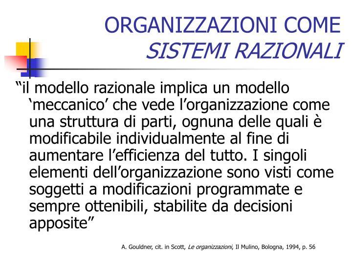 Organizzazioni come sistemi razionali